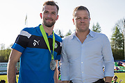 Forest Green Rovers Christian Doidge(9) receiving players player of the year from Forest Green Rovers manager, Mark Cooper during the EFL Sky Bet League 2 match between Forest Green Rovers and Grimsby Town FC at the New Lawn, Forest Green, United Kingdom on 5 May 2018. Picture by Shane Healey.