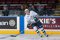 KELOWNA, CANADA - DECEMBER 7: Reece Harsch #7 of the Seattle Thunderbirds warms up against the Kelowna Rockets on December 7, 2016 at Prospera Place in Kelowna, British Columbia, Canada.  (Photo by Marissa Baecker/Shoot the Breeze)  *** Local Caption ***