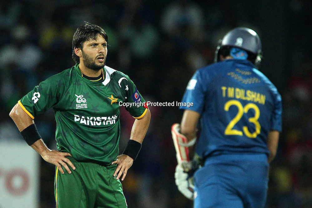 Shahid Afridi reacts after his appeal for the wicket of Tilakaratne Dilshan is unsuccessful during the ICC World Twenty20 semi final match between Sri Lanka and Pakistan held at the Premadasa Stadium in Colombo, Sri Lanka on the 4th October 2012<br /> <br /> Photo by Ron Gaunt/SPORTZPICS