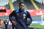 Andy Yaidom (3) of Reading arriving at the Liberty Stadium before the EFL Sky Bet Championship match between Swansea City and Reading at the Liberty Stadium, Swansea, Wales on 27 October 2018.
