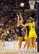 Maria Tutaia (NZ) scores the winning goal<br /> Netball - Australia vs New Zealand<br /> 2007 International Test Series<br /> Vodafone Arena, Melbourne Australia<br /> Saturday 21 July 2007<br /> © Sport the library / Jeff Crow