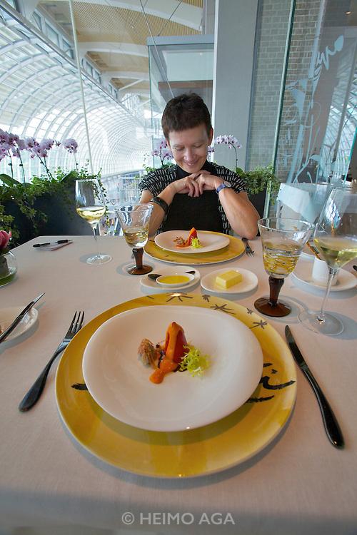 Singapore. Marina Bay Sands. SANTI restaurant combines Mediterranean culture with the authentic taste of the Catalan region in Spain..Perrots amb Bandada de Bacalla I Mojama (Piquillo peppers with cod fish brandade, vizcaina sauce and mojama)