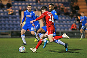 Ashley Nadesan crosses the ball during the EFL Sky Bet League 2 match between Colchester United and Crawley Town at the JobServe Community Stadium, Colchester, England on 1 January 2020.