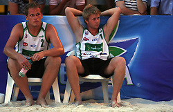 Joze Casar and Simon Krakar (Atlantis Team) at qualifications for 14th National Championship of Slovenia in Beach Volleyball and also 4th tournament of series TUSMOBIL LG presented by Nestea, on July 25, 2008, in Kranj, Slovenija. (Photo by Vid Ponikvar / Sportal Images)/ Sportida)