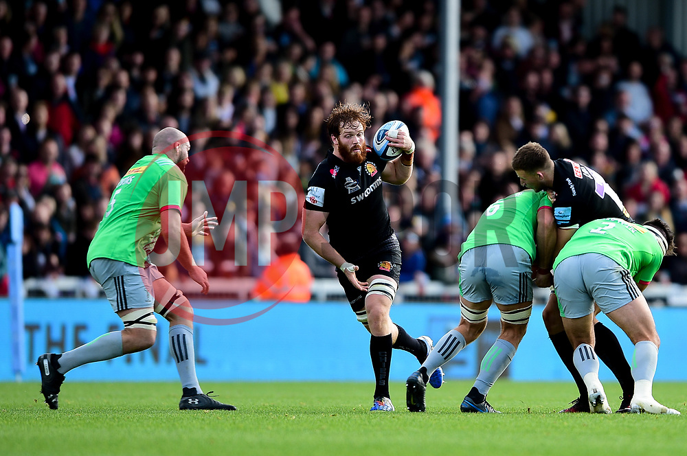 Jannes Kirsten of Exeter Chiefs is marked by Tom Lawday of Harlequins - Mandatory by-line: Ryan Hiscott/JMP - 19/10/2019 - RUGBY - Sandy Park - Exeter, England - Exeter Chiefs v Harlequins - Gallagher Premiership Rugby