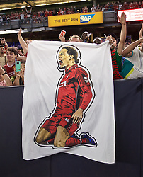 NEW YORK, NEW YORK, USA - Wednesday, July 24, 2019: Liverpool supporters with a banner featuring an image of Virgil van Dijk during a friendly match between Liverpool FC and Sporting Clube de Portugal at the Yankee Stadium on day nine of the club's pre-season tour of America. (Pic by David Rawcliffe/Propaganda)