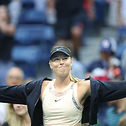 2017 U.S. Open Tennis Tournament - DAY THREE.  Maria Sharapova of Russia celebrates her win against Timea Babos of Hungary during the Women's Singles round two match at the US Open Tennis Tournament at the USTA Billie Jean King National Tennis Center on August 30, 2017 in Flushing, Queens, New York City.  (Photo by Tim Clayton/Corbis via Getty Images)