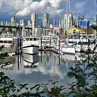 Boat Harbor and West End Skyline in Vancouver, Canada <br />