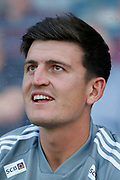 Harry Maguire of Leicester City during the Pre-Season Friendly match between Scunthorpe United and Leicester City at Glanford Park, Scunthorpe, England on 16 July 2019.