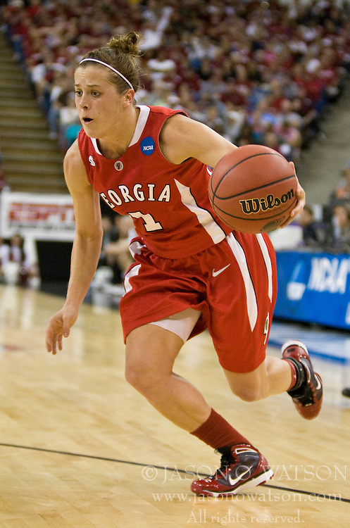 March 27, 2010; Sacramento, CA, USA; Georgia Bulldogs guard Ashley Houts (1) during the second half against the Stanford Cardinal in the semifinals of the Sacramental regional in the 2010 NCAA womens basketball tournament at ARCO Arena.  Stanford defeated Georgia 73-36.