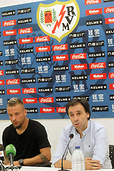 04.08.2015, Ciudad Deportiva del Rayo Vallecano, Madrid, ESP, Primera Division, Rayo Vallecano, Spielerpraesentation, im Bild Rayo Vallecano's new player Patrick Ebert (l) withnthe General Manager Felipe Minambres // during his official presentation as a new player of the Spanish Primera Division Club Rayo Vallecano at the Ciudad Deportiva del Rayo Vallecano in Madrid, Spain on 2015/08/04. EXPA Pictures © 2015, PhotoCredit: EXPA/ Alterphotos/ Acero<br /> <br /> *****ATTENTION - OUT of ESP, SUI*****
