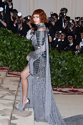 Zendaya walking the red carpet at The Metropolitan Museum of Art Costume Institute Benefit celebrating the opening of Heavenly Bodies : Fashion and the Catholic Imagination held at The Metropolitan Museum of Art  in New York, NY, on May 7, 2018. (Photo by Anthony Behar/Sipa USA)