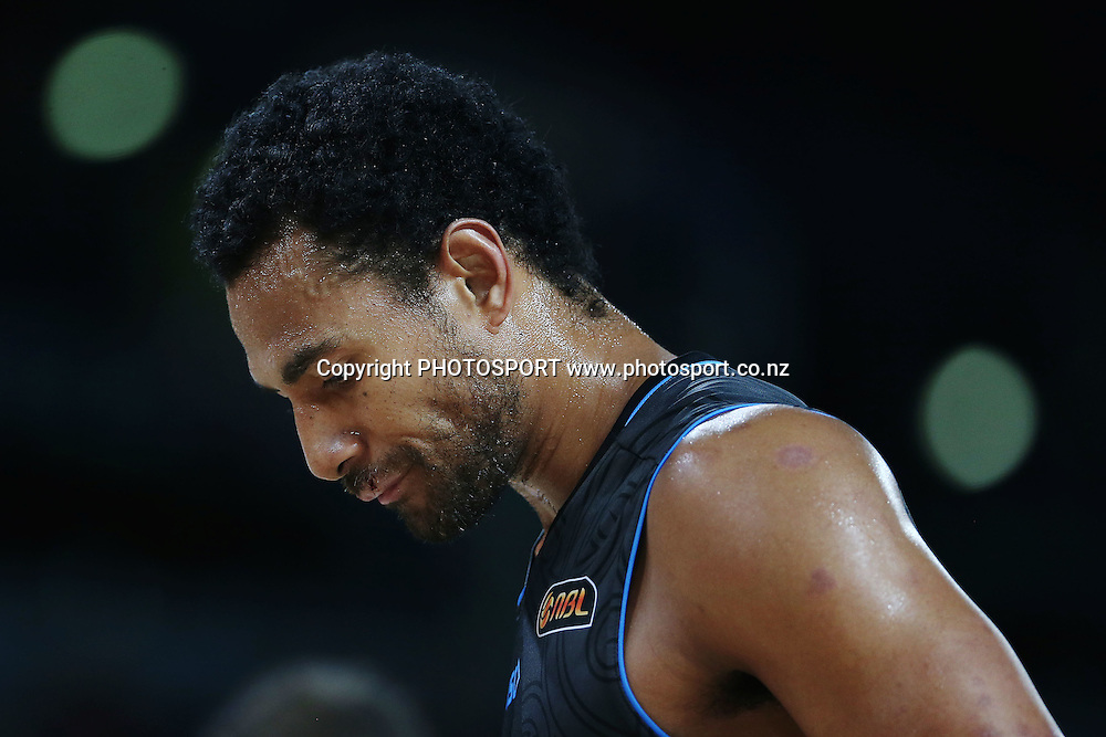 Mika Vukona of the Breakers looks on. 2014/15 ANBL, SkyCity Breakers vs Adelaide 36ers, Vector Arena, Auckland, New Zealand. Thursday 12 February 2015. Photo: Anthony Au-Yeung / www.photosport.co.nz