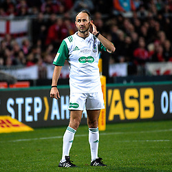 Referee Romain Poite listens to the late TMO decision during the 2017 DHL Lions Series rugby union 3rd test match between the NZ All Blacks and British & Irish Lions at Eden Park in Auckland, New Zealand on Saturday, 8 July 2017. Photo: Dave Lintott / lintottphoto.co.nz