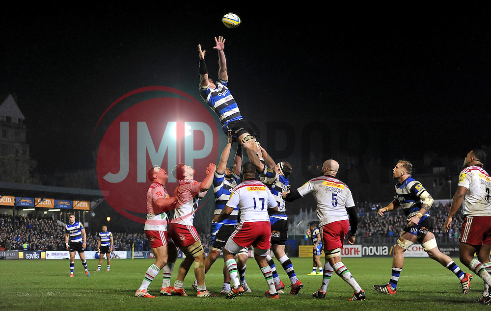 Bath Rugby captain Stuart Hooper rises high to win lineout ball - Photo mandatory by-line: Patrick Khachfe/JMP - Mobile: 07966 386802 28/11/2014 - SPORT - RUGBY UNION - Bath - The Recreation Ground - Bath Rugby v Harlequins - Aviva Premiership