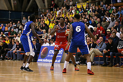 Fred Thomas of Bristol Flyers is crowded out by the defence - Photo mandatory by-line: Arron Gent/JMP - 28/09/2019 - BASKETBALL - Crystal Palace National Sports Centre - London, England - London City Royals v Bristol Flyers - British Basketball League Cup