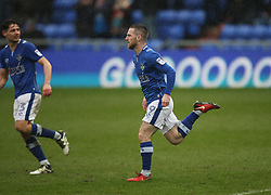 Jack Byrne of Oldham Athletic celebrates after scoring his sides first goal - Mandatory by-line: Jack Phillips/JMP - 02/04/2018 - FOOTBALL - Sportsdirect.com Park - Oldham, England - Oldham Athletic v Blackpool - Football League One