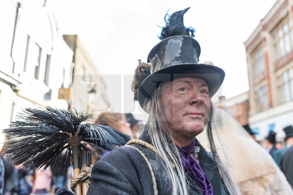 © Licensed to London News Pictures. 03/12/2016. Rochester, UK. Participants take part in the Rochester Dickensian Christmas Festival.  The Kent town is given a Victorian makeover to celebrate the life of the writer Charles Dickens (who spent much of his life there), with Victorian themed street entertainment, costumed parades and a Christmas market. Photo credit : Stephen Chung/LNP