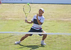 LIVERPOOL, ENGLAND - Saturday, June 22, 2019: Chun-Hsin Tseng (TPE) during Day Three of the Liverpool International Tennis Tournament 2019 at the Liverpool Cricket Club. (Pic by David Rawcliffe/Propaganda)