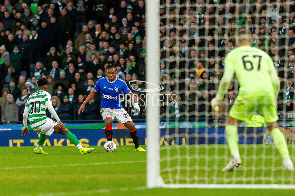 Alfredo Morelos of Rangers FC looks for a route to goal during the Betfred Scottish League Cup Final match between Rangers and Celtic at Hampden Park, Glasgow, United Kingdom on 8 December 2019.