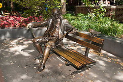 Statue of Benjamin Franklin sitting on a park bench, University of Pennsylvania, Philadelphia, Pennsylvania, United States of America