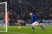 GOAL - Jamie Vardy (9) scores from the spot during the Premier League match between Leicester City and Watford at the King Power Stadium, Leicester, England on 4 December 2019.