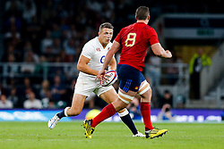England Inside Centre Sam Burgess is challenged by France Number 8 Louis Picamoles - Mandatory byline: Rogan Thomson/JMP - 07966 386802 - 15/08/2015 - RUGBY UNION - Twickenham Stadium - London, England - England v France - QBE Internationals 2015.