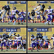 Kris Wilson/News Tribune<br /> Lincoln running back Martee Tenner pulls off a jaw-dropping, highlight reel play as he somersaults over a Southwest Baptist defender and scampers for big yardage in the fourth quarter of the Blue Tigers' season ending victory at Dwight T. Reed Stadium. A video of the play went viral shortly after it was uploaded to YouTube by the Lincoln athletic department, receiving nearly 2 million views and countless replays on sports highlight shows and websites around the world.
