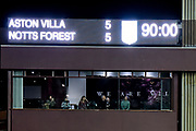 Villa Park scoreboard showing the score 5-5 during the EFL Sky Bet Championship match between Aston Villa and Nottingham Forest at Villa Park, Birmingham, England on 28 November 2018.