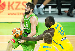 Ziga Dimec of Slovenia vs Nathan Jawai of Australia during friendly basketball match between National teams of Slovenia and Australia, on August 4, 2015 in Arena Stozice, Ljubljana, Slovenia. Photo by Vid Ponikvar / Sportida