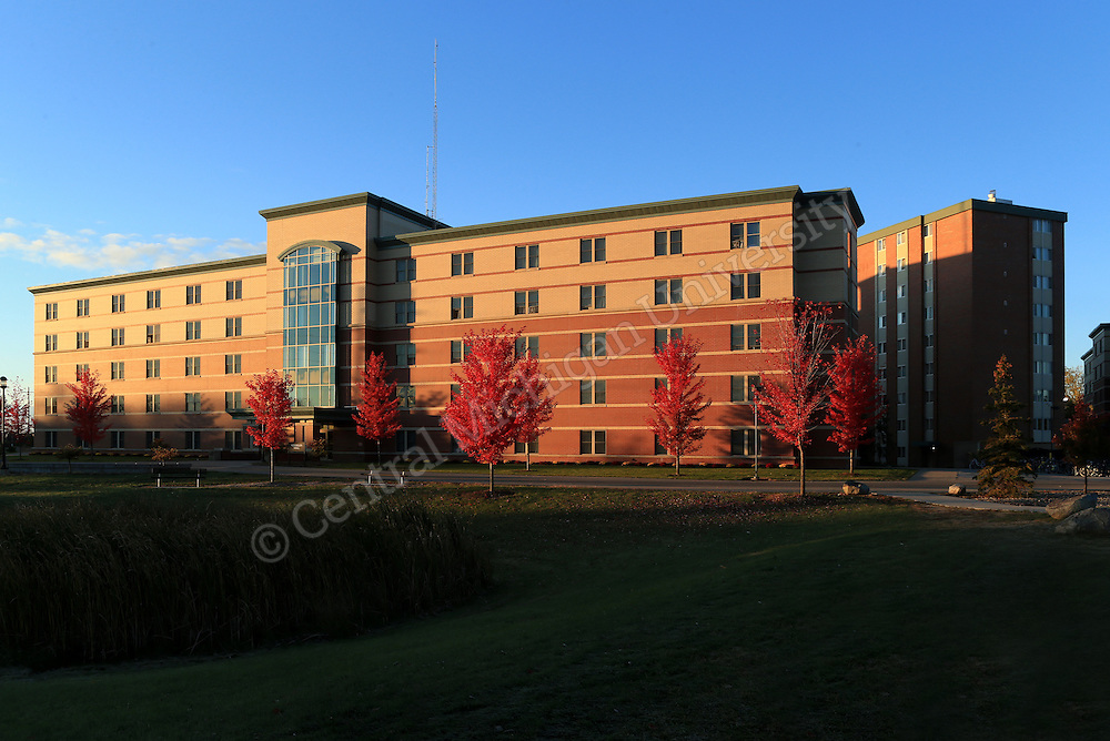 Sunrise at Kesseler Hall at the Towers. Fall color features scenics at Central Michigan University. Central Michigan University photo by Steve Jessmore