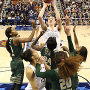 Breanna Stewart, UConn, shoots two from the rebound during the UConn Huskies Vs USF Bulls Basketball Final game at the American Athletic Conference Women's College Basketball Championships 2015 at Mohegan Sun Arena, Uncasville, Connecticut, USA. 9th March 2015. Photo Tim Clayton