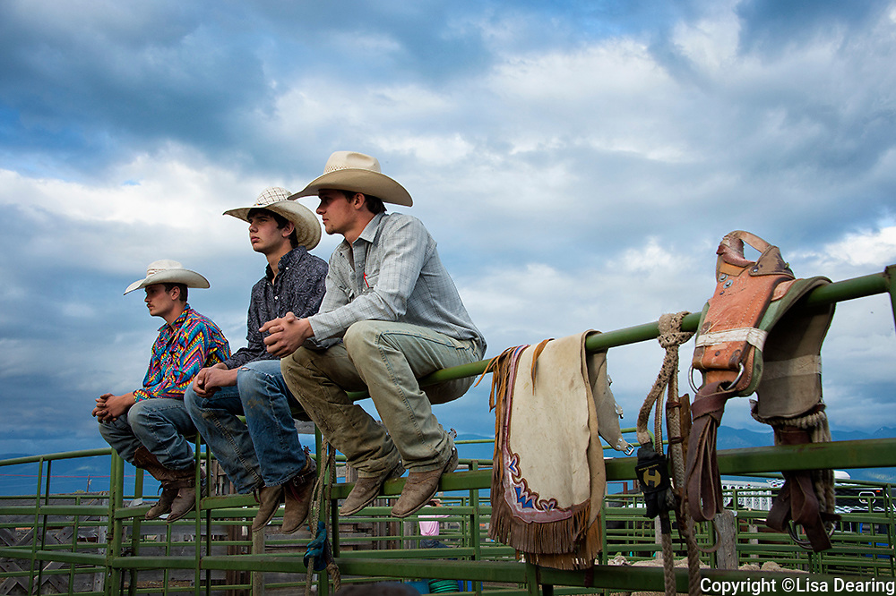 Three Cowboys at a Rodeo, Montana