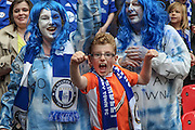 Halifax Town fans celebrate winning the FA Trophy after the FA Trophy match between Grimsby Town FC and Halifax Town at Wembley Stadium, London, England on 22 May 2016. Photo by Mark P Doherty.