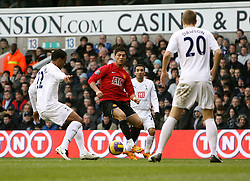 LONDON, ENGLAND - Saturday, February 2, 2008: Manchester United's Cristiano Ronaldo is crowded out against Tottenham Hotspur  during the Premiership match at White Hart Lane. (Photo by Chris Ratcliffe/Propaganda)
