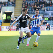 Dundee&rsquo;s Greg Stewart and Kilmarnock&rsquo;s Kallum Higginbotham  - Dundee v Kilmarnock, Ladbrokes Premiership at Dens Park <br /> <br />  - &copy; David Young - www.davidyoungphoto.co.uk - email: davidyoungphoto@gmail.com