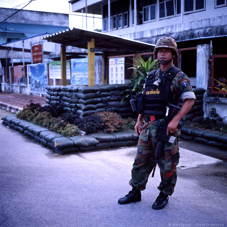 Solder guarding the local army camp in Narathiwat.