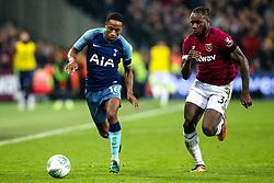 Kyle Walker-Peters of Tottenham Hotspur takes on Michail Antonio of West Ham United - Mandatory by-line: Robbie Stephenson/JMP - 31/10/2018 - FOOTBALL - London Stadium - London, England - West Ham United v Tottenham Hotspur - Carabao Cup