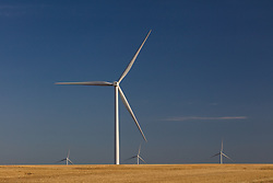 Wind farm turbines in a rural Texas field.
