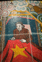 Wall mosaic on the 17th Parallel Memorial alongside the Ben Hai River near Hien Luong Bridge, DMZ, Quang Tri Province, Vietnam, Southeast Asia