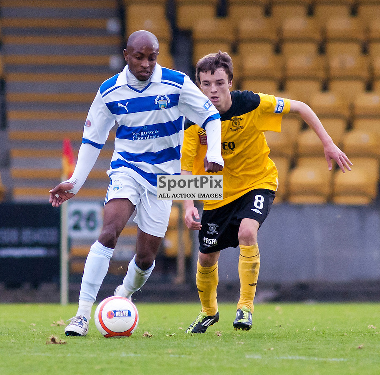 Fouad Bachirou gets away from Stefan Scougall, Livingston v Morton SFL Division 1 League Match
