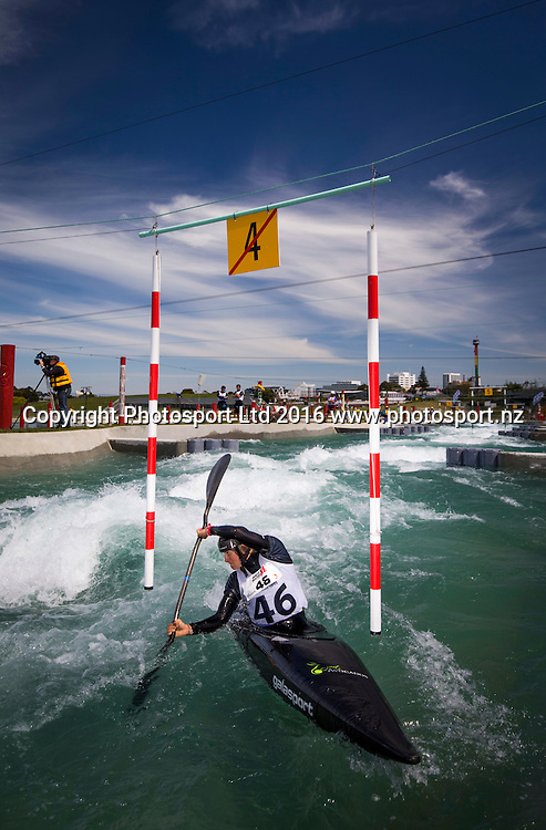 New Zealand's Luuka Jones competes in the K1 section, WhitewaterXL, Vector Wero Whitewater Park,  Auckland, New Zealand. Thursday 24 November 2016. © Copyright Photo: www.Photosport.nz