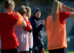 NEWPORT, WALES - Tuesday, November 6, 2018: Wales' Women's national team manager Jayne Ludlow during a training session at Dragon Park ahead of two games against Portugal. (Pic by Paul Greenwood/Propaganda)