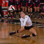 27 August 2016: The San Diego State Aztecs took on the Michigan State Spartans in game two of the Aztec Invitational at Peterson Gym on the campus of SDSU. DS/L Alexa Saba (17) digs the ball on a play in the third set. The Aztecs lost 3-1 to the Spartans. www.sdsuaztecphotos.com