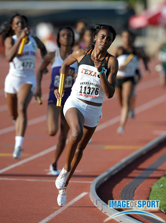 Mar 31, 2012; Austin, TX, USA; Briana Nelson runs the anchor leg on the victorious Texas womens 4 x 400m relay that ran 3:29.79 in the 85th Clyde Littlefield Texas Relays at Mike A. Myers Stadium.