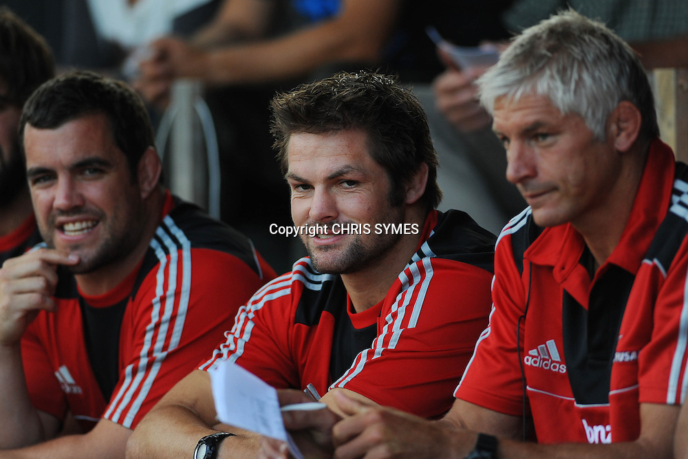 Crusaders Richie McCaw watches the game from the stand during their Super Rugby Pre-season game Crusaders v Highlanders. Rugby Park, Greymouth, New Zealand. Friday 3 February 2012. Photo: Chris Symes/www.photosport.co.nz