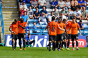 Southend United defender Ryan Leonard (18) (far left) celebrates with team mates after scoring a goal (0-1) during the EFL Sky Bet League 1 match between Gillingham and Southend United at the MEMS Priestfield Stadium, Gillingham, England on 26 August 2017. Photo by Martin Cole.