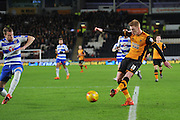 Hull City midfielder Sam Clucas crosses ball in fron of goal  during the Sky Bet Championship match between Hull City and Reading at the KC Stadium, Kingston upon Hull, England on 16 December 2015. Photo by Ian Lyall.