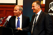 (L to R) Mayor of Auckland Len Brown, Prime Minister John Key, Press conference to announce Auckland, New Zealand as the host city for the 2017 World Masters Games. Auckland Town Hall Councillors Chambers, Auckland. 15 March 2012. Photo: William Booth/photosport.co.nz