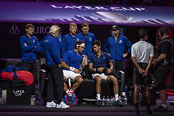 September 21, 2018 - Chicago, Illinois, U.S - Team Europe member ROGER FEDERER of Switzerland strategizes with partner NOVAK DJOKOVIC of Serbia while on their bench during the first doubles match on Day One of the Laver Cup at the United Center in Chicago, Illinois. (Credit Image: © Shelley Lipton/ZUMA Wire)
